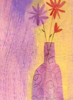 5 X 7 Orange Flowers in Green Vase  Purple by christinafajardoart, $7.00