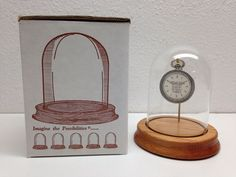 Vintage Watch, Jewelry, & Treasure Glass Display Dome w/ Solid Oak Wood Base NOS #Unbranded