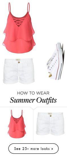 """""""Cute summer outfit"""" by ellastuckey on Polyvore featuring Doublju, Current/Elliott and Converse"""