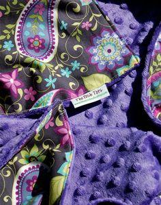 Baby Girl Blanket - Paisley Spree with Purple Minky.