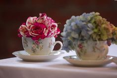 DIY Teacup Centerpieces. Click on the source for more photos from this High Tea from HWTM.