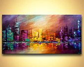 ORIGINAL Abstract City Painting Modern Acrylic von OsnatFineArt