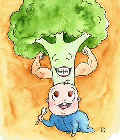 Tribute to my little son, growing strong eating only vegetables! #watercolor #InkArt #twitart #ArtLovers #veganart