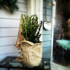 Scarlett Scales Antiques - Franklin, Tennessee Hip Antique Boutique  christmas tree burlap bag