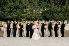 bride in inbal dror, bridesmaids in champagne off-the-shoulder jenny yoo Backless Bridesmaid Dress, Off Shoulder Bridesmaid Dress, African Bridesmaid Dresses, Champagne Bridesmaid Dresses, Wedding Bridesmaids, Wedding Dresses, Neutral Bridesmaid Dresses, Bridesmade Dresses, Bridesmaids And Groomsmen