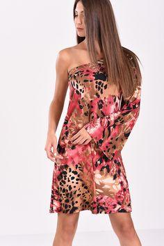 2347b98abdd3 Φόρεμα κοντό εμπριμε με έναν ώμο σε μπορντό αποχρώσεις