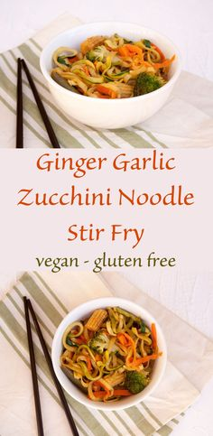 Ginger Garlic Zucchini Noodle Stir Fry - This healthy stir fry makes a perfect side dish. Add some cashews or tofu and it makes a perfect meal!