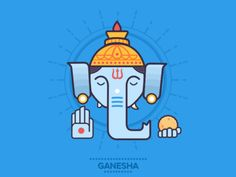 Ganesha - The Wise designed by Saransh Solanki. Connect with them on Dribbble; Krishna Drawing, Krishna Art, Cute Sketches, Cartoon Sketches, Easy Art For Kids, Cubist Art, Ganesh Images, Outline Illustration, Indiana