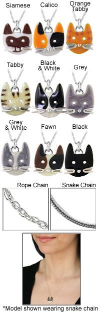 $24.95 Sterling Happy Kitty Face Necklace~ Every Purchase Funds Food and Care for Rescued Animals.