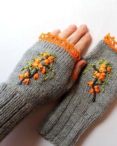 Hand Knitted Fingerless Gloves, Gloves & Mittens, Ribbon Embroidery, Sea Buckthorn, Elegant, Gray, Orange, Green, Handmade Accessories on Etsy, $38.00
