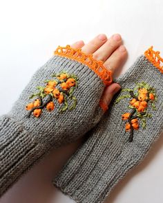 Hand Knitted Fingerless Gloves, Gloves & Mittens, Ribbon Embroidery, Sea Buckthorn, Elegant, Gray, Orange, Green, Handmade Accessories on Etsy, $38.00