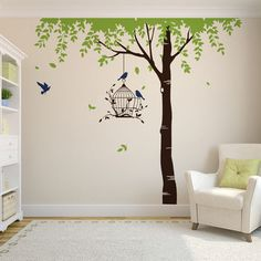 This is our Summer Tree With Bird Cage Wall Sticker. A beautiful full room height tree wall stickers will suit any interior space from childrens bedroom. Tree Wall Painting, Diy Painting, Childrens Wall Stickers, Wall Decor Stickers, Summer Trees, Geometric Wallpaper, Inspiration Wall, Bird Cage, Wall Design