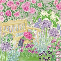 Cottage garden. Beautiful floral greeting card by Hannah McVicar.