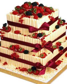 Square strawberry triple tier cake