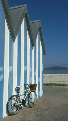 Santa Marta, Baiona, Galicia, Spain, Beach. Bike. #Vintage. Beautiful.