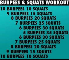 Burpees and squats workout. I did variations of both exercises like power squats and walking planks in between burpees. That made it a well-rounded half hour workout; Amrap Workout, Workout Challenge, Crossfit Workouts At Home, Butt Workouts, Crossfit Leg Workout, Treadmill Workouts, Tabata, Workout Fitness, Kettlebell