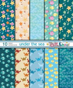10 digital backgrounds under the sea theme.