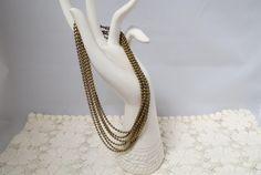 Vintage Bead Chain Multistrand Necklace Gold Tone by KansasKardsStudio on Etsy