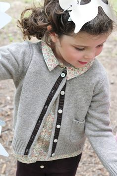 Fall Girls :: Sweaters & Outerwear :: Classic Wool Cardigan - Olive Juice Kids Clothing