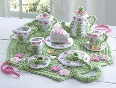 "Original Design By: Donna Collinsworth Skill Level:Intermediate Size: Unfolded Tea Set Carrier - 24"" across - Tea Pot - 5"" tall - Tea Cup - 3"" tall - Saucer - 4"" across - Cake Plate - 6"" across - Suga"