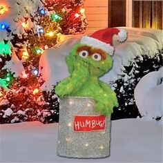 28 3d lighted soft tinsel oscar the grouch in can outdoor christmas decor - Outdoor Tinsel Christmas Decorations