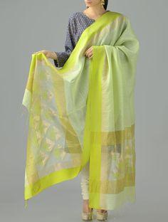 Buy Lime Green Golden Zari Jamdani Cotton Silk Dupatta Online at Jaypore.com