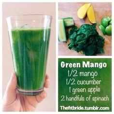 Green Mango Juice 1/2 mango 1/2 cucumber 1 green apple 2 handfuls of spinach Yum yum! My rating: 4 stars I really enjoyed this juice, my only complaint would be that I couldn't taste the mango as much as I would have liked. I would double the mango next time.