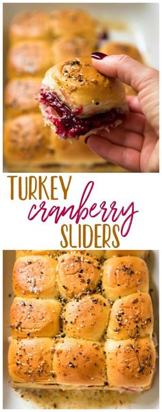 Turkey Cranberry Sliders are a quick and easy recipe to use up that leftover turkey and cranberry sauce from the holidays! Hawaiian rolls are loaded with turkey, cranberry sauce and your favorite cheese for a tasty lunch or dinner after the big meal. Slider Recipes, Big Meals, Fast Meals, Lunch Snacks, Quick Easy Meals, Fall Recipes, Cheap Recipes, Appetizer Recipes, Recipes Dinner