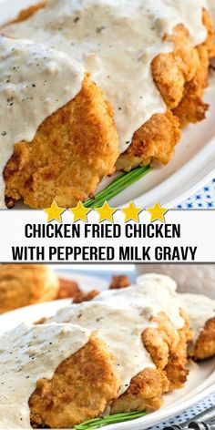 Made with boneless chicken pieces this Chicken Fried Chicken With Peppered Milk Gravy is country comfort food done right. Yummy Chicken Recipes, Turkey Recipes, Meat Recipes, Cooking Recipes, Yummy Food, Dinner Recipes, Milk Gravy, Fried Chicken, Kitchens