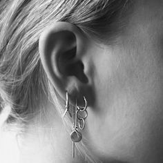 Anna Nooshin Single Disc Drop Chain Earring Silver