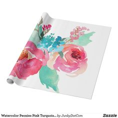Watercolor Peonies Pink Turquoise Summer Bouquet Wrapping Paper June 9 2017 #zazzle #junkydotcom