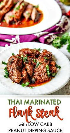Thai Marinated Flank Steak with Low Carb Peanut Dipping Sauce - super easy dinner you can make in minutes. Thai Marinated Flank Steak with Low Carb Peanut Dipping Sauce - super easy dinner you can make in minutes. Low Carb Lunch, Low Carb Dinner Recipes, Keto Dinner, Beef Recipes, Salad Recipes, Top Recipes, Amazing Recipes, Delicious Recipes, Recipies