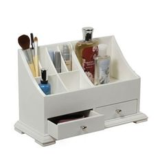 Awesome little organizer for on top of your bedroom dresser......keeps makeup, perfume, & nail polish organized in one place! Comes in a bigger size also.
