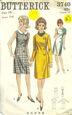 Butterick 3740 1960s Misses Side Button Wrap Coat Dress Pattern Womens Vintage Sewing Pattern by patterngate.com