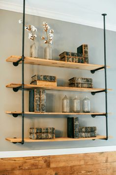 diy wooden shelves with iron pipe