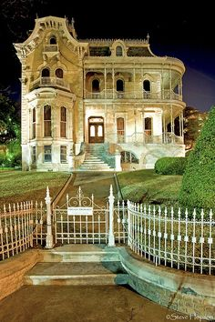 The historic John Bremond home at night, Austin Texas, February 25,  2009.