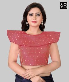 Red High Neck Solid Saree Blouse Online On YOYOFashion. Call or Whatsapp for more info here: 8000588688 Indian Party Wear, Indian Wear, Red Fashion, Indian Fashion, Style Fashion, Red Blouses, Blouses For Women, Readymade Blouses Online, Blouse Batik
