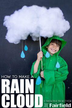 Make the rainclous and rain drops round waist of pretty girl costume