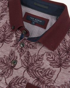 LEAF PRINT SS OXFORD POLO - Dark Red   Tops & T-shirts   Ted Baker