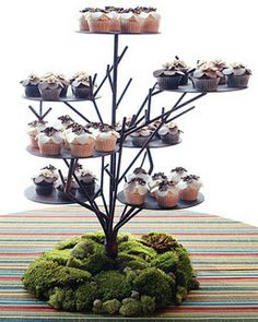 I have no idea where you might find one of these, but even if we just used the moss as an idea for decorated a cake plate base.