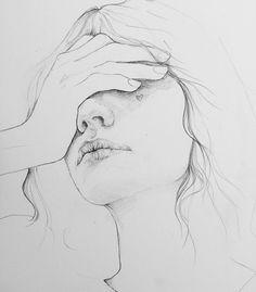 Chronic pain, portrait illustration, hand illustration, pencil drawings of girls Portrait Au Crayon, Pencil Portrait Drawing, Pencil Art Drawings, Art Drawings Sketches, Sketches Of Faces, Portrait Art, Sad Drawings, Drawing Faces, Drawing People Faces
