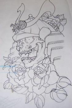 Outline Rose Flowers And Samurai Tattoo Design
