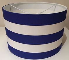Blue / Navy And White Striped Lampshade, Nautical, Sea Side, Handmade, 40cm