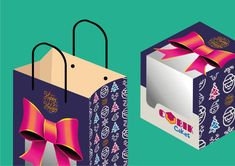 """This is a packaging design for a fictional company """"Cubik Cakes"""". Cake Packaging, Packaging Design, Carry On Bag, Photo Manipulation, Vector Art, Graphic Design, Clutches, Hand Luggage, Carry On Luggage"""