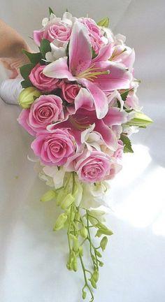 Wedding Flowers Pink Lillies Rose Bouquet 54 New Ideas Cascading Wedding Bouquets, Cascade Bouquet, Bride Bouquets, Bridal Flowers, Flower Bouquet Wedding, Hand Bouquet, Rose Bouquet, Stargazer Lily Wedding, Stargazer Lily Bouquet