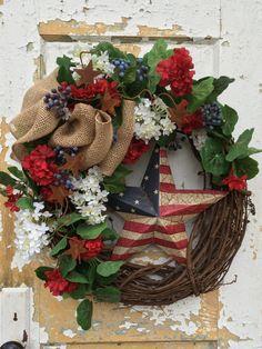 Patriotic Wreath Americana Wreath Spring Wreath by FlowerPowerOhio Fourth Of July Decor, 4th Of July Celebration, 4th Of July Decorations, 4th Of July Wreath, July 4th, Patriotic Wreath, Patriotic Crafts, Patriotic Party, Wreath Crafts