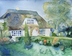 Bauerngarten in Middelhagen (c) Aquarell von Frank Koebsch Baltic Sea, How To Do Yoga, Westerns, Your Pet, The Good Place, Painting, Places, Watercolor Painting, Painting Art