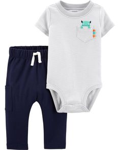 69d0517be Baby Boy 2-Piece Monster Bodysuit Pant Set from Carters.com. Shop clothing