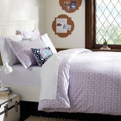 Florette Duvet Cover + Sham, Lavender | PBteen - in gray