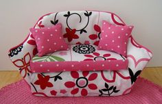 Barbie Furniture - Pink and Red Flower Print Living Room Sofa w Pink Polka Dot Trim and Pillows - FREE Shipping to anywhere in the USA by DebsDollRoomDesigns on Etsy